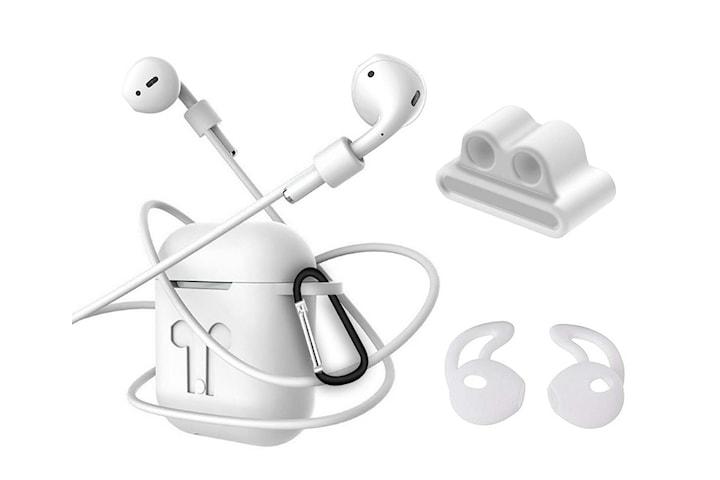 4i1 Airpods-kit med skyddande silikon, öronkrok grepp och remmar