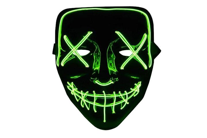 The Purge LED Neon Mask, Halloween - Grön