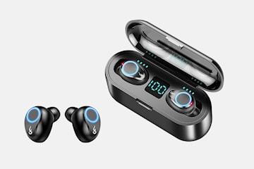 Trådløse in-ear hodetelefoner med powerbank