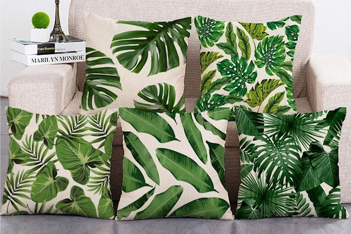 Kuddfodral med bladmönster 2-pack