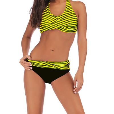 Svart/Gul, S, Sexy Backless Striped Bikini, Bikini, ,  (1 av 1)
