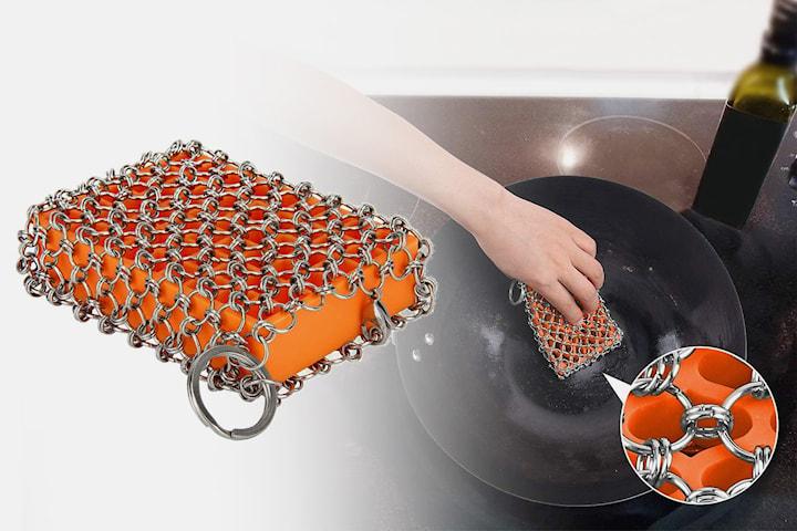 Oppvasksvamp i silikon med stålringer