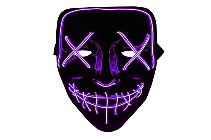 The Purge LED Neon Mask, Halloween - Lilla