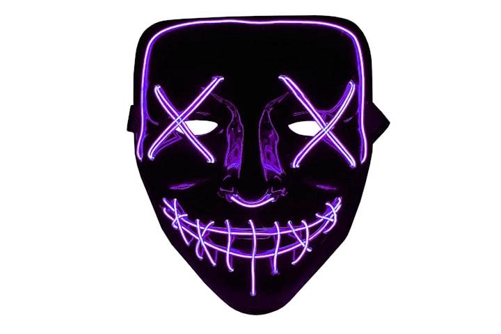 The Purge LED Neon Mask, Halloween - Lila