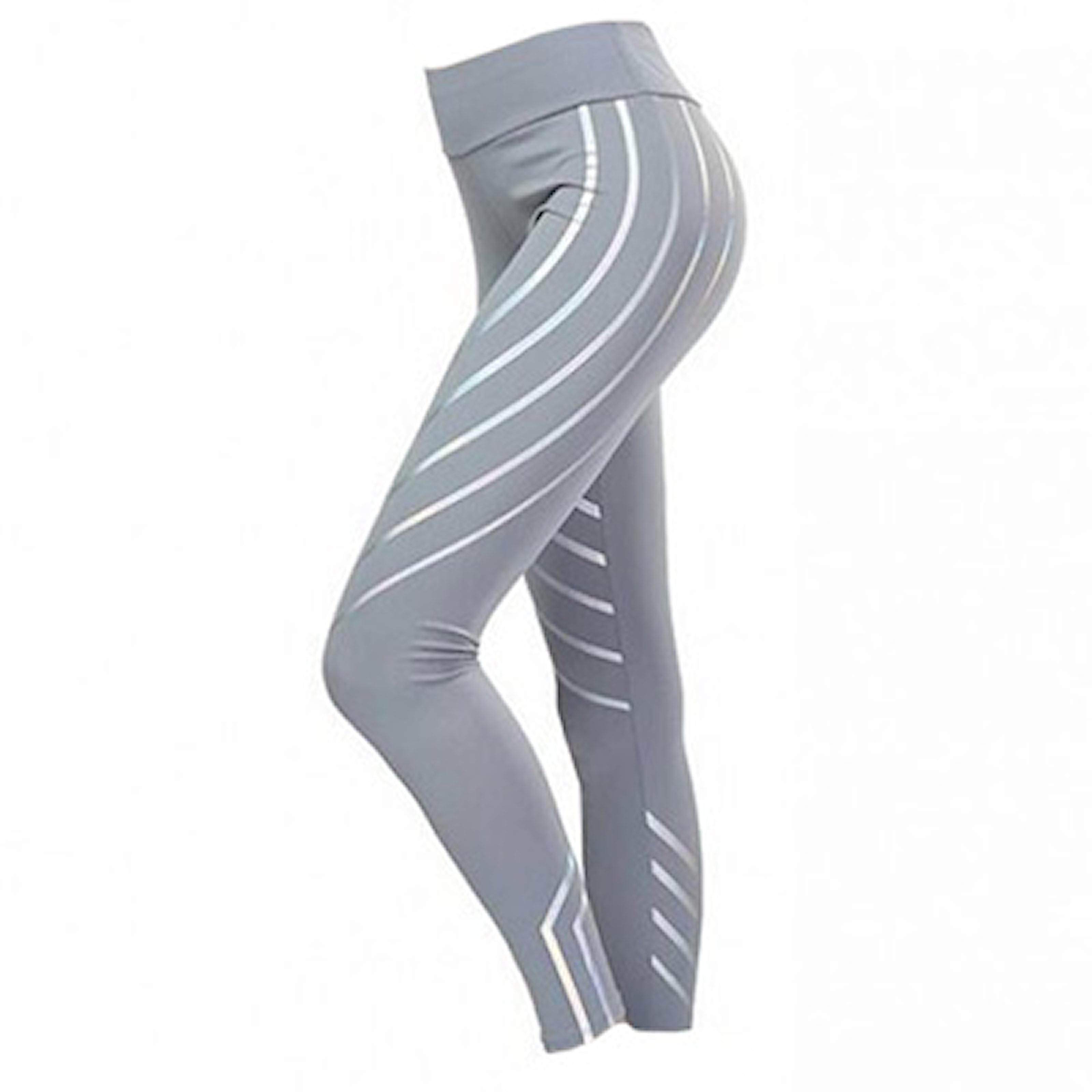 Grå, L, Fitness Rainbow Leggings, Träningstights med silverstripes, ,