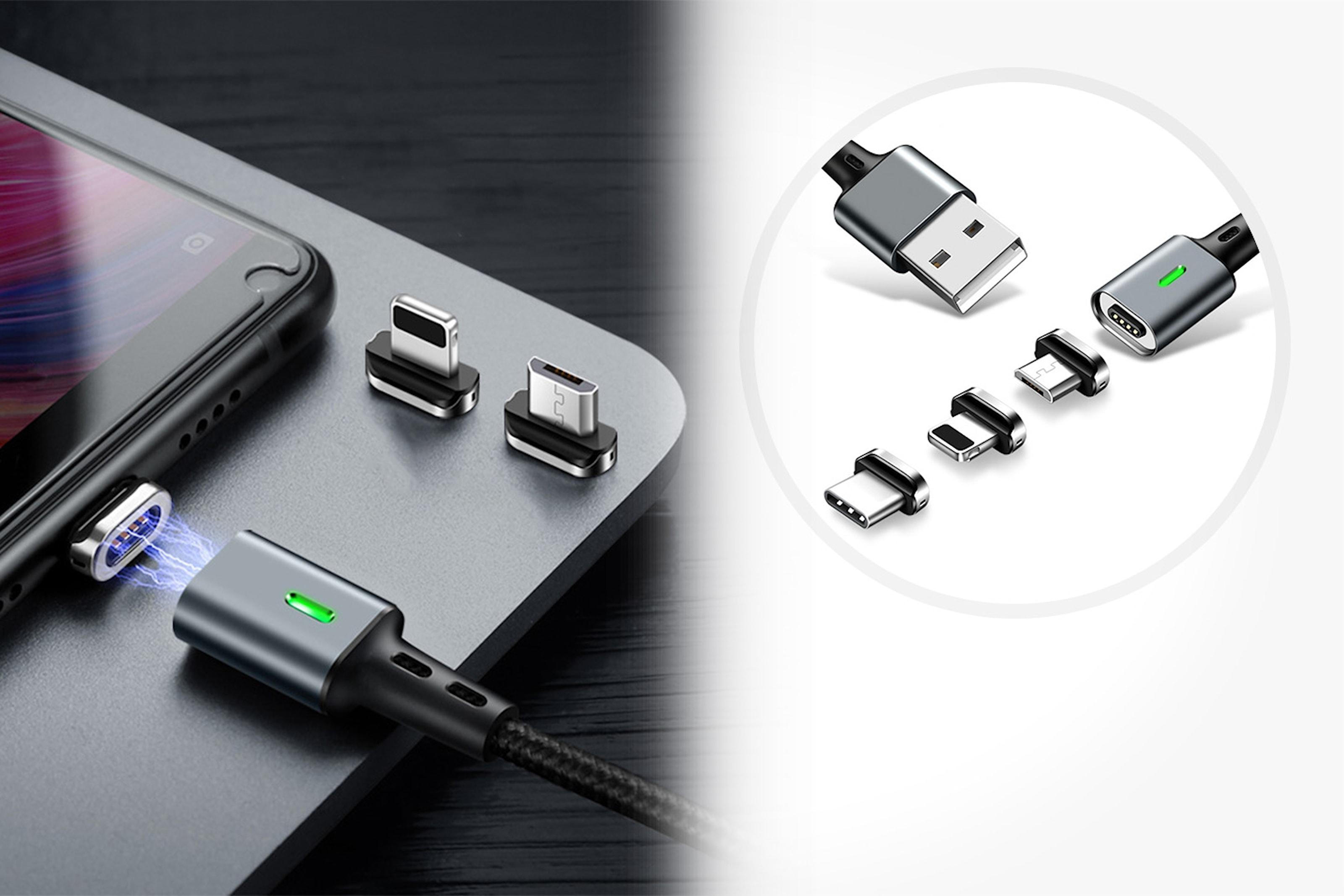 Magnetisk 3-i-1 USB-laddare och kabel