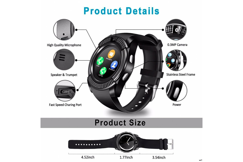 V8 aktivitetsarmband med Bluetooth och pekskärm