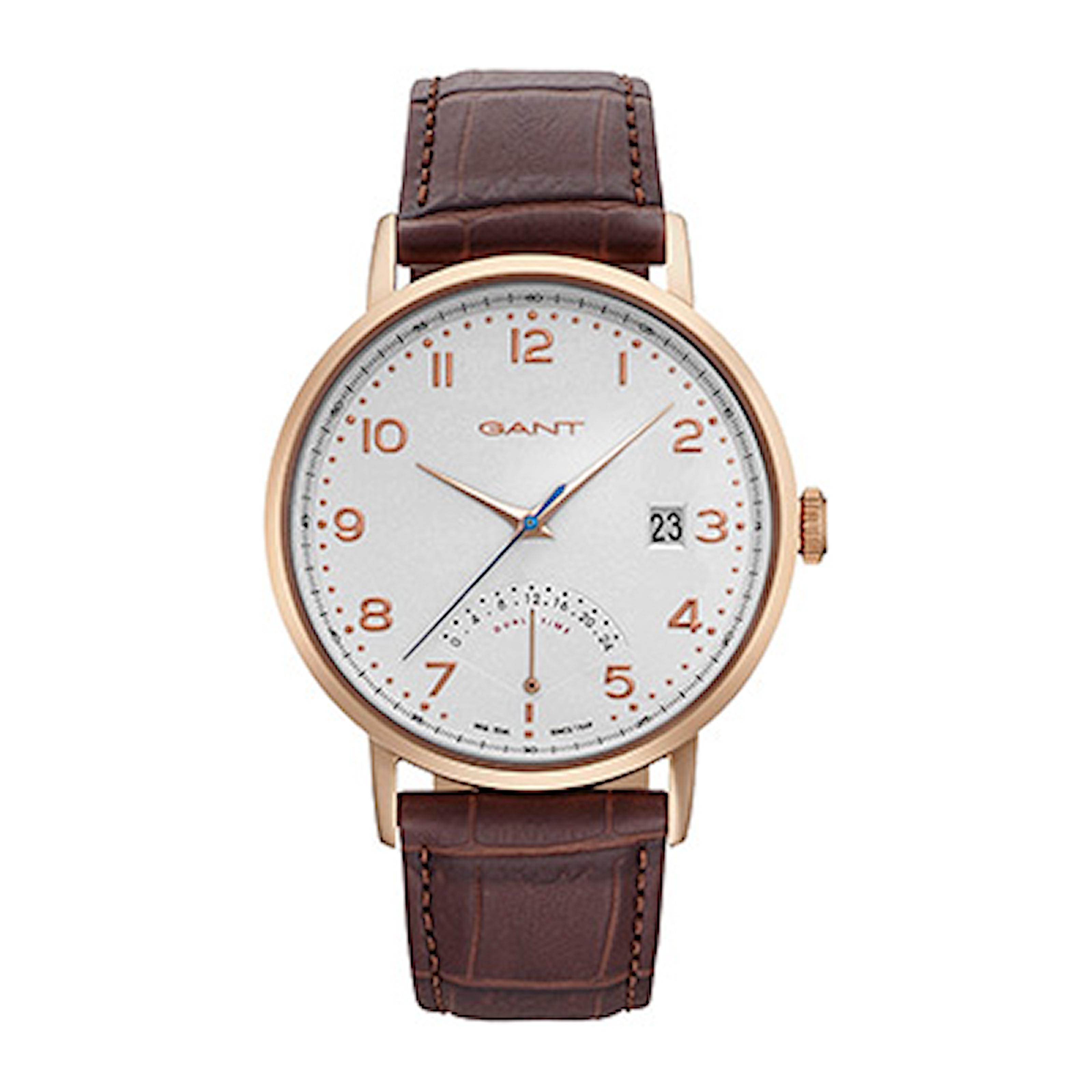 GT022003, GT022003, Armband: brun, läder. Urtavla: silver, rostfritt stål. Mått: 41,5 mm,