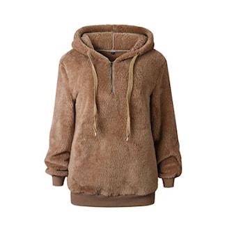 Brun, L, Casual hooded pullover for women, Hettegenser, ,