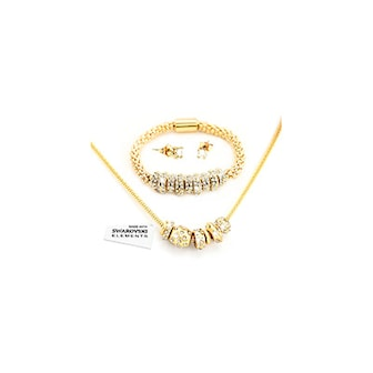 Guld, Necklace Bracelet and Earrings Made with Swarovski Crystals, three colors!, Smyckeset med Swarovskikristaller, ,