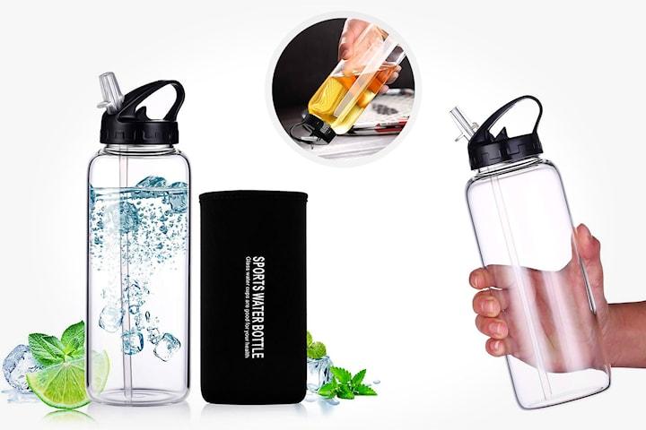 Vannflaske med sugerør 1 liter
