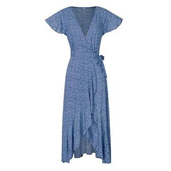Blå, M, Bohemian Dot Long Dress, Lång omlottklänning, ,
