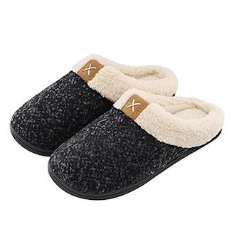 Svart, 38/39, Memory foam cotton slippers, Tøfler med minneskum, ,