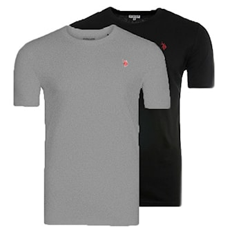 Svart, Grå, 3XL, US Polo Round Neck T Shirts, 2 pack, US Polo t-shirt, 2-pack, ,