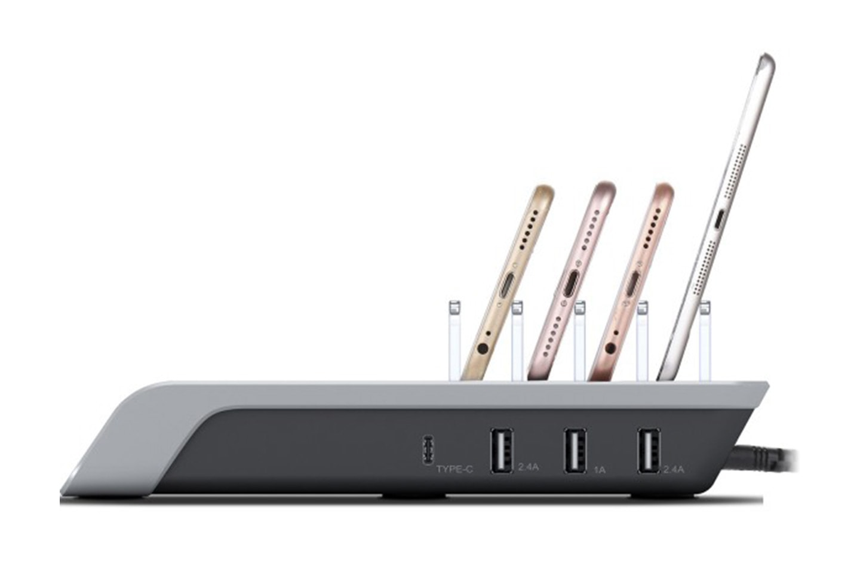 Trådløs Qi-lader med fire USB-porter