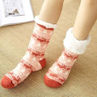 Red Elk, Non-Slip Thickening Home Socks, Halkfria mönstrade sockor, ,