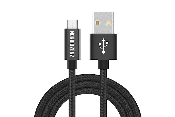 NORDIQZENZ Micro-USB Tekstilkabel, 1m, svart