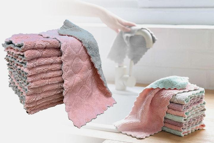 Vaskekluter med to lag 10-pack