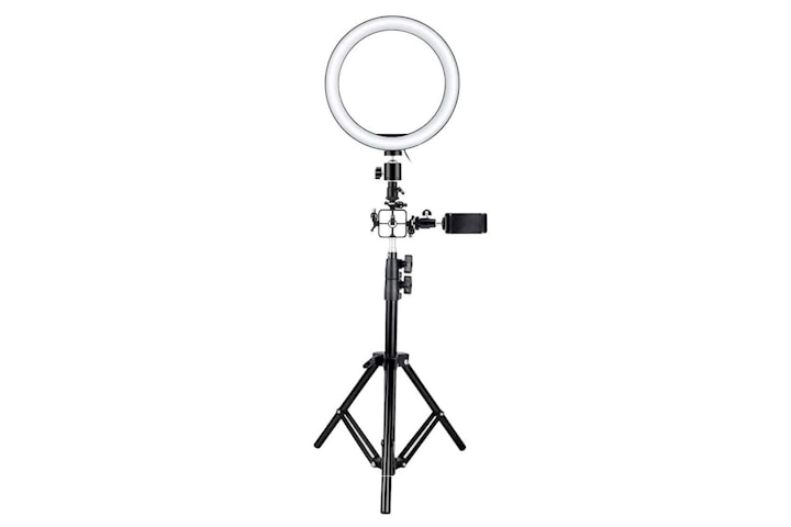 Selfie-lampe/Ring light (26 cm), stativ og festen