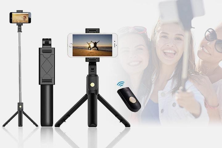 Selfiepinne med stativ och fjärrkontroll