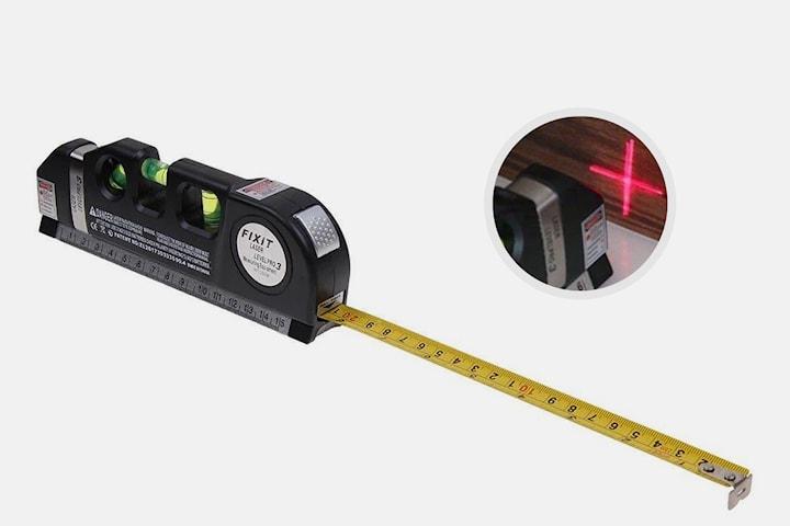 Måttband med laser och nivellering
