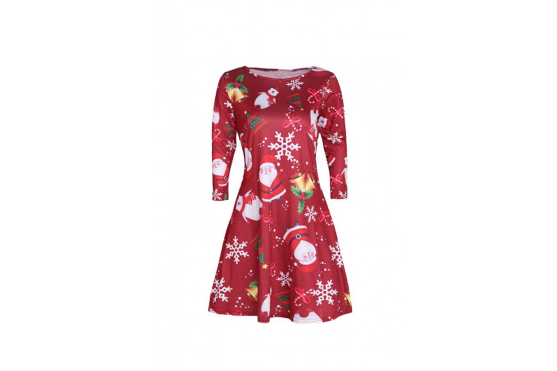 Långärmad klänning med julmotiv