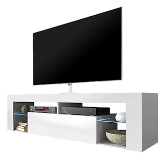 White Matt/White Gloss, With LED, Hugo tv-bänk med LED-belysning, ,