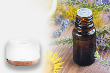 Luftfuktare med aromaterapi och LED-ljus