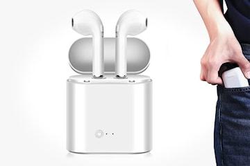 Trådløse i8s Mini in-ear hodetelefoner med ladeboks – nå enda bedre!
