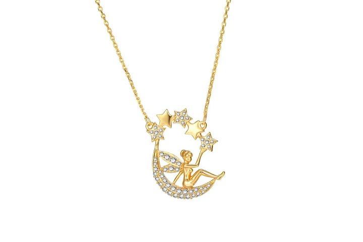 24k Guldpläterat  halsband med fe och halvmåne hänge