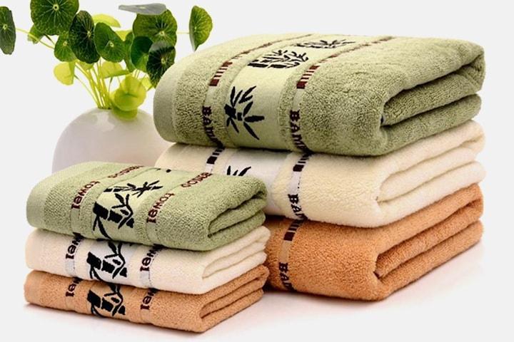 Handdukar i bambu  4- eller 5 delar