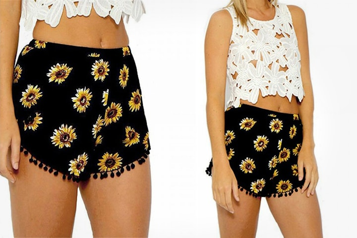 Shorts med solsikkeprint