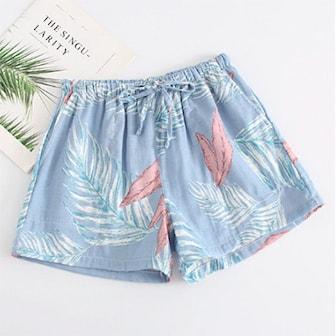 Blue Floral, M, Pajama shorts for women, Pysjamasshorts, ,