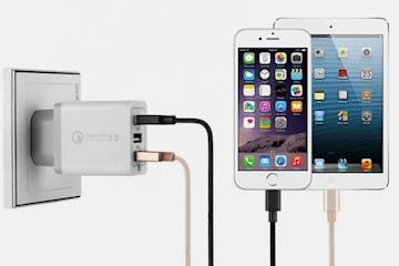 Snabb USB-laddare med tre portar
