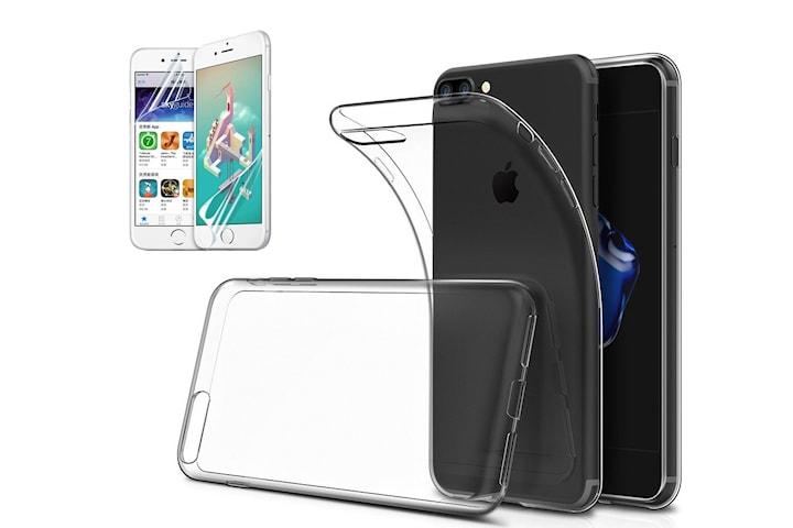 Transparent TPU skal +2st skärmskydd till iPhone 7+/8+