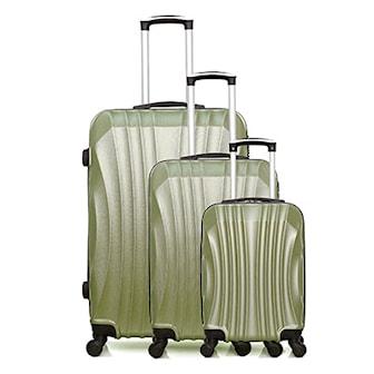 Grön, Set of 3 suitcases, Moscou-A , set med resväskor 3 storlekar,