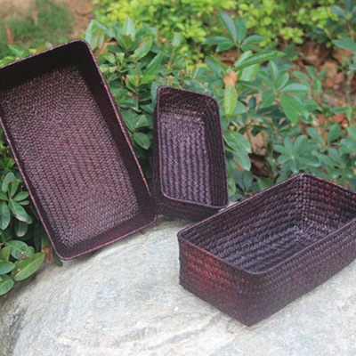 Brun, Basket Straw Rectangular 3-pcs, Korgar i flätat strå 3-pack, ,  (1 av 1)
