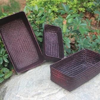 Brun, Basket Straw Rectangular 3-pcs, Korgar i flätat strå 3-pack, ,