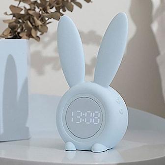 Hvit, Rabbit Alarm Clock, Vekkerklokke med kaninører, ,