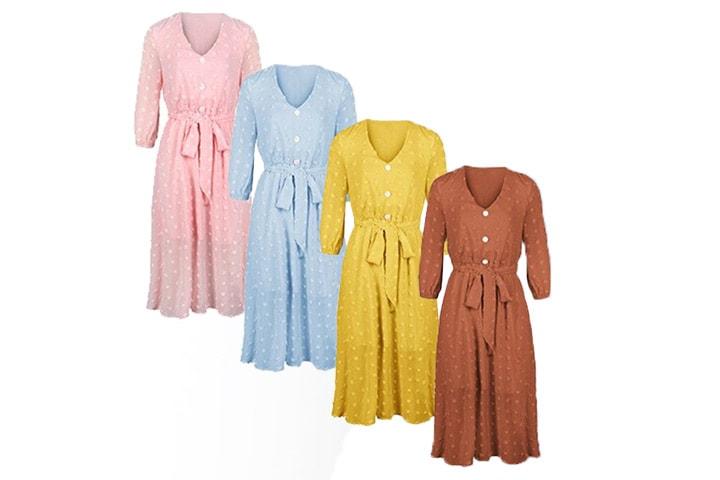 Kjole med trekvart ermer