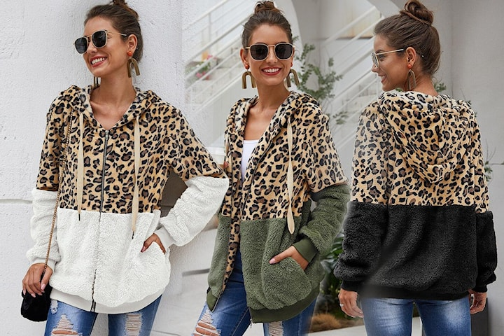 Hoodie med leopardmönster
