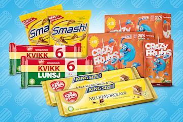 Godteri pakke: Crazy Fruits Orange, Kvikk Lunsj, Freia Melkesjokolade og Smash
