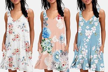 Blomstret kjole med lommer
