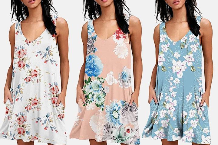 Klänning i blommigt mönster