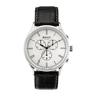 W10782, W10782, Armband: svart, läder. Urtavla: silver, rostfritt stål. Mått: 42 mm,