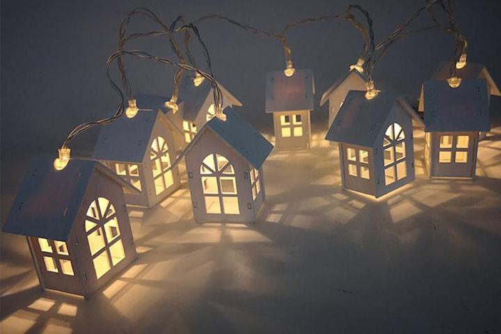 Ljusslinga med 10 små lykthus