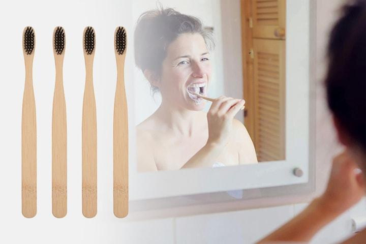 Tandborste i bambu 4-pack