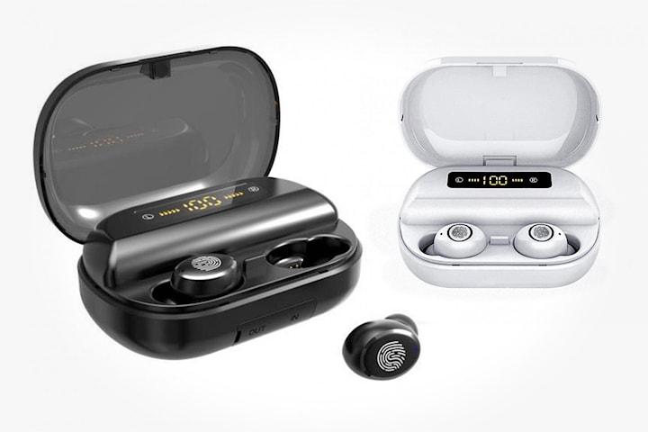 In-ear hodetelefoner med ladeetui og mobil/tablet holder