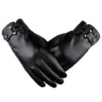 Svart, 1, Touch Screen Winter Warm PU Gloves, Touch-screen hansker i kunstig skinn,
