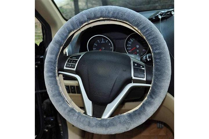 Rattmuff i syntetisk päls som passar de flesta bilmodeller, grå